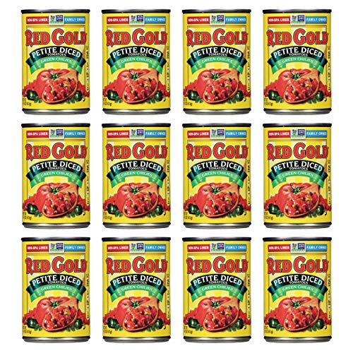 Red Gold Petite Diced Tomatoes Green Chilies, 14.5oz Can (Pack of 12)