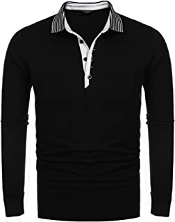 Men's Long Sleeve Polo Shirt Striped Collar Casual Slim Fit Cotton Polo T Shirts
