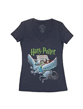 Out of Print Women's Harry Potter Series Book-Themed V-Neck Tee T-Shirt
