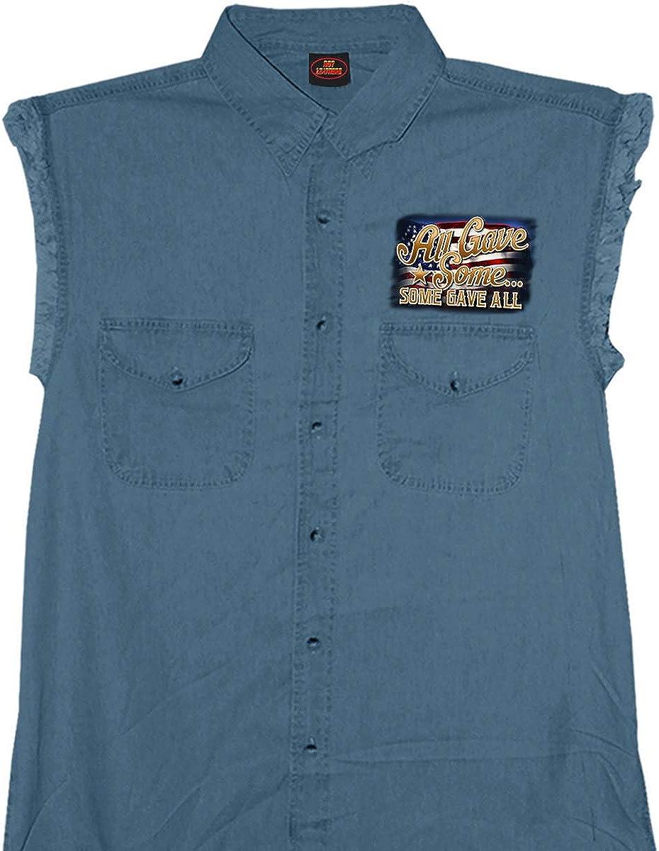 Hot Leathers GMD5407 Mens 'Remembrance' Sleeveless Blue Denim Shirt