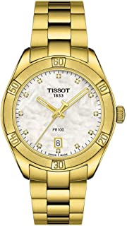 Tissot womens PR 100 Sport Chic Stainless Steel Casual Watch Yellow Gold T1019103311601