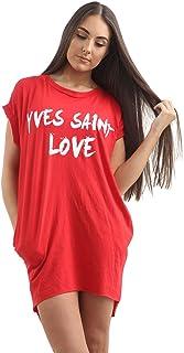 Ladies Hi Lo /'Yves Saint Love/' Slogan Printed T-shirt Tee Ladies Tops Mini Dress