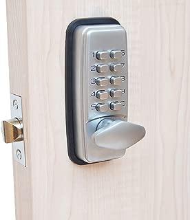 Cerradura de puerta con código digital, cromada, resistente a la intemperie, combinación de teclas, cerradura de botón codificada, color negro o plateado