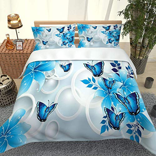 ZPOEQW Juego De Ropa De Cama 180X220cm 3 Piezas Impresión Mariposa Flor Azul 3D Juego De Funda Nórdica De Microfibra para Cama 105, 1 Funda De Edredón Y 2 Fundas De Almohada 50X75cm