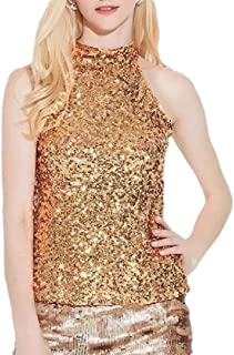 Women's Halter Neck Tank Tops Sexy Turtle Neck Sequins Slim Blouse