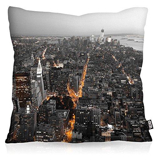 VOID N.Y. Skyline Cojín con Dibujo Funda de cojín Funda para Outdoor Indoor New York Manhattan USA, Kissen Größe:60 x 60 cm