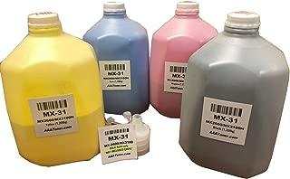AAA Toner Refill Kit for Sharp MX-2600N, MX-3100N, MX-31 (MX-31) (1,200g x 4, Black, Cyan, Magenta, Yellow)