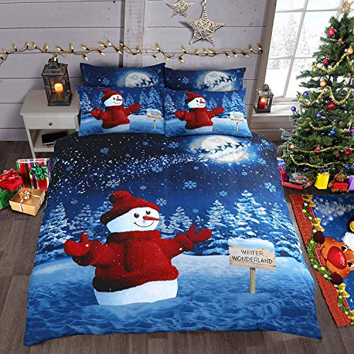 CnA Stores Sparkly Glitter Blue Christmas Bedding Snowman Duvet Cover Set with Pillowcases (Double)