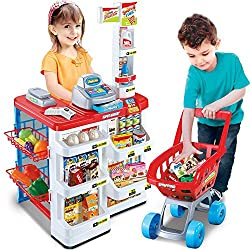 Kids Supermarket Shop Pretend Play Set Children Superstore Shopping Trolley Featuring a colourful supermarket pretend play set with 24 piece accessories, this pretend shop is perfect for children to perform shopping role plays with friends and parent...