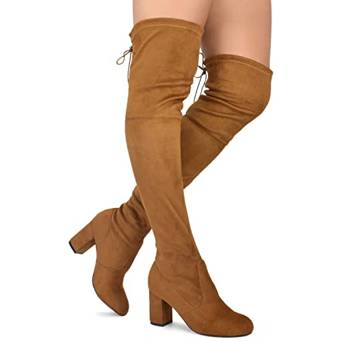 28b05399196 Premier Standard - Women Fashion Comfy Vegan Suede Block Heel Slip On Thigh  High Over The