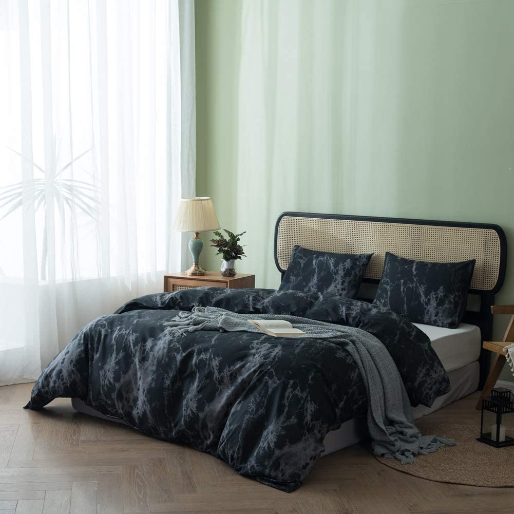 Easy Care 1 Duvet Cover + 2 Pillow Shams mixinni Geometric Duvet Cover King Black Stripe 3 Pieces White Soft Microfiber Bedding Cover Set Perfect for Him and Her Soft and Breathable-King Size
