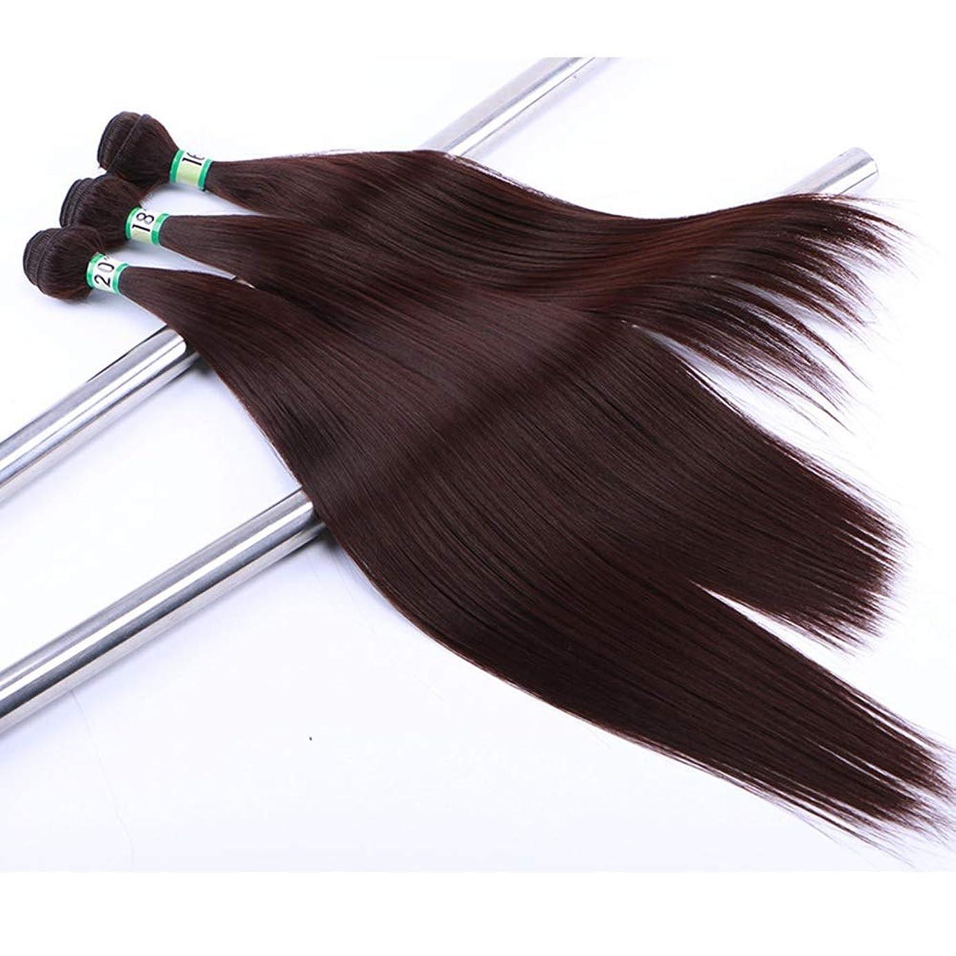 入札レザークラシックHOHYLLYA 人工毛バンドルストレートヘアエクステンション3バンドル - 1B#ナチュラルカラー(16