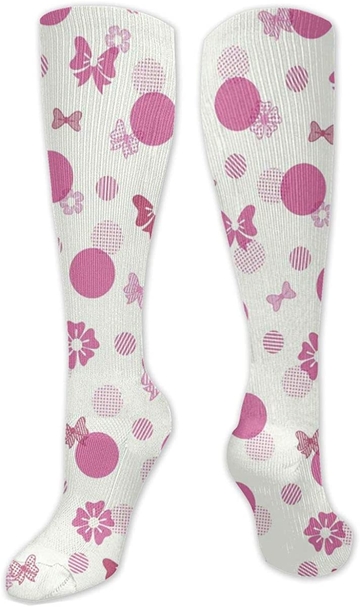 Red Bow And Dots Knee High Socks Leg Warmer Dresses Long Boot Stockings For Womens Cosplay Daily Wear