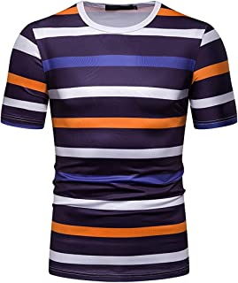 New Men's T-Shirts Color Striped Fashion Short Sleeve Shirt Summer Casual Tee Top Regular Fit (Color : Orange, Size : XXL)
