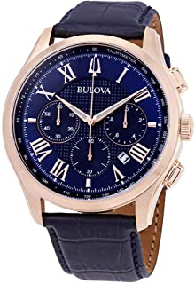 Bulova 97b170Wiltonメンズ腕時計Navy Blue (チェックこの) 46.5MMステンレススチール