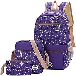 TIFENNY 3Pcs Women Student Fashion Star Print Bag Backpack+ Shoulder Bag+Card Package