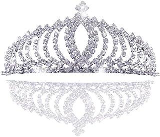 REYOK Boda Novia de Diadema Corona Brillante Diadema Tiara de Princesa con Cristales Brillantes con Peine, para niños Adul...