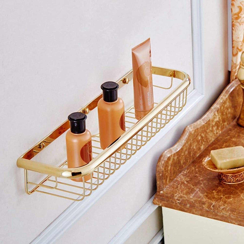 LUDSUY Luxury gold Plated Copper Bathroom Wall Shelf Storage Basket 45Cm Length