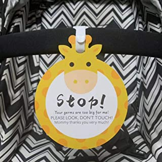 Giraffe-Stop,Please Look,Don't Touch Baby Sign Tag (Girl Sign, Newborn, Baby Car Seat Tag, Baby Bed Tag,Stroller Tag, Carrycot Basket Tag,Baby Preemie No Touching Car Seat Sign Tag) W/Hanging Straps