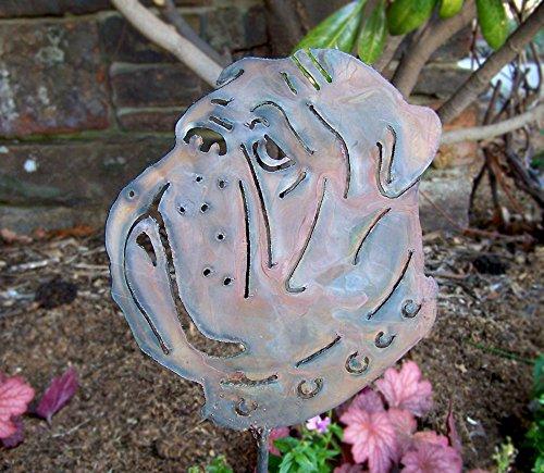 Bulldog garden stake - English bulldog art - Bulldog home decor - Outdoor living dog sculpture - Flowerbed bulldog decor