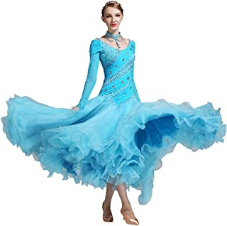 Fluffy Skirt Modern Dress Performance Luxury National Standard Dance Dress Diamond Competition Suit (Color : Blue, Size : S)