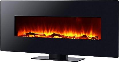 Chimenea Eléctrica 2000 W Kekai Kentucky 128x26x61 cm con Simulación de Fuego para Suelo/Pared Negra