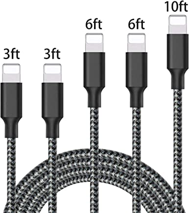 Lightning Cable, iPhone Charger Cables, 5Pack 2x3FT 2x6FT 10FT to USB Syncing Data and Nylon Braided Cord Charger for iPhone Xs Max, XR, X, 8, 7, Plus, 6, 6S, 6 Plus, 5, 5C, 5S, SE - Black