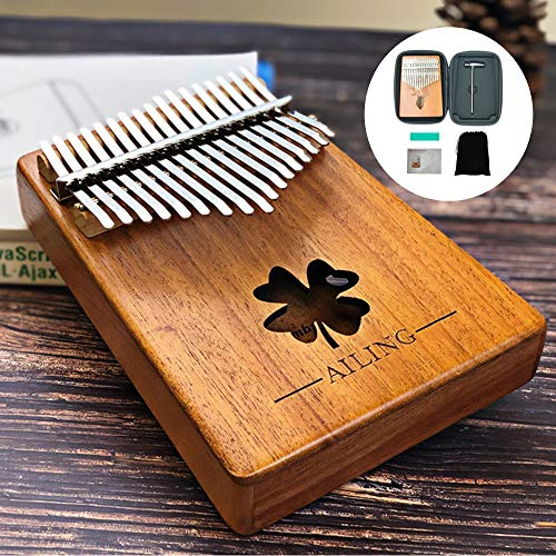 Peabownn Kalimba Thumb Piano Mbira Portable -17 Keys Wood Finger Piano with Tune Hammer, Study Instruction and Waterproof EVA Protective Case Best Gift for Kids Adults - 4 leaf grass