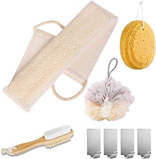 MYHXQ - Esponja de baño para esponja de lufa natural para ducha, esponja de rodar de abeja natural y cepillo para polvo de...