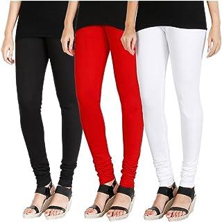 Swastik Stuffs™ Soft & Stretchable Cotton Lycra Churidar Free Size Leggings Combo Offer for Women (SSLRWB3_Red,White,Black...