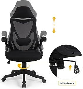 BERLMAN Ergonomic High Back with Adjustable Armrest Lumbar Support Headrest Swivel Task Desk Chair Computer Chair Guest Chairs Reception Chairs (Black)