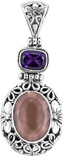 Boho Handmade Pendant 925 Sterling Silver Rose Quartz Amethyst Jewelry for Women