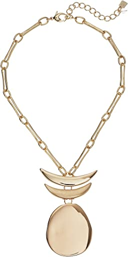 Robert Lee Morris - Gold Short Pendant with Totem Detail Necklace