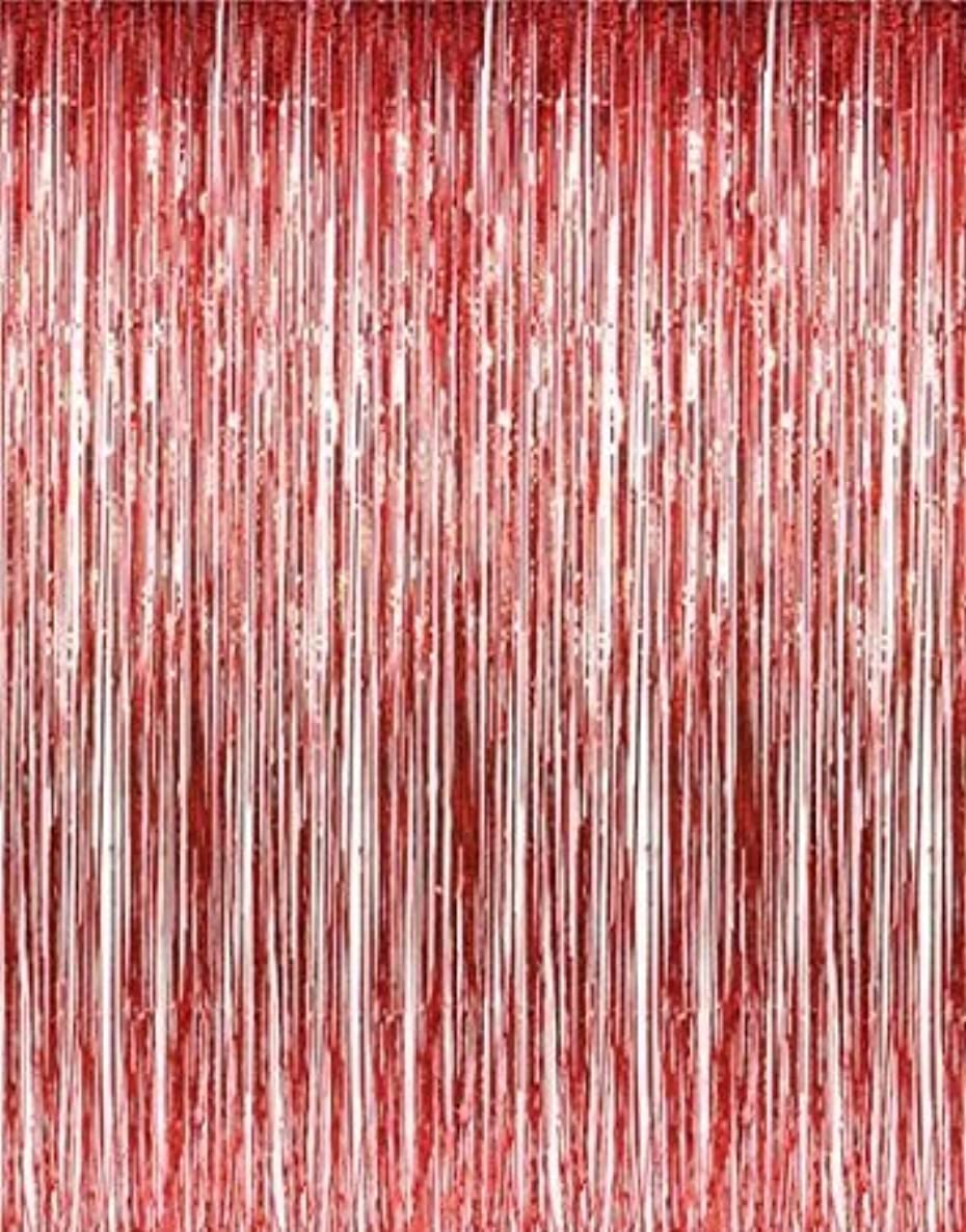 Set of 2 Red Foil Fringe Door & Window Curtain Party Decoration 3' X 8' (36