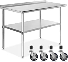 GRIDMANN NSF Stainless Steel Commercial Kitchen Prep & Work Table w/Backsplash Plus 4 Casters (Wheels) - 48 in. x 24 in.