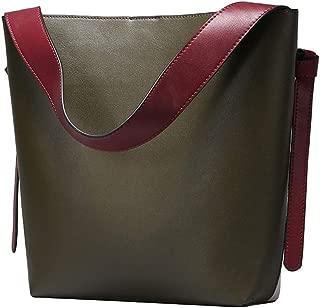 HAIHAI <b>Simple Classic Leather Handbag/Collision Color Bucket Casual Fashion Leather Shoulder Bag Shopping Bag</b> Shoulder Bags (Color : Green)