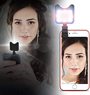 Apexel Clip On Mini Multi-Function Selfie Light[Portable Dimmable Clip Lights] Selfie LED Camera Light with 9 Lighting Modes for iPhone Samsung Sony and Other Smart Phones and Tabletes,Black