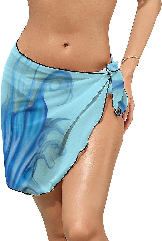 Women Beach Wrap Sarong Cover Up Mermaid Tail Sexy Short Sheer Bikini Wraps