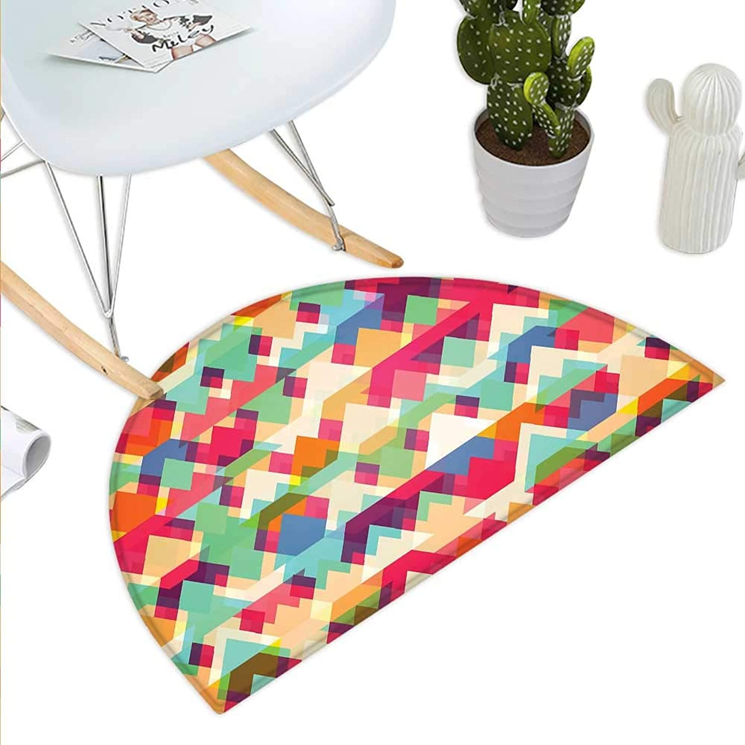 Indie Semicircle Doormat Abstract Vibrant colorful Triangles Overlap Geometric Design with Artistic Display Halfmoon doormats H 39.3  xD 59  Multicolor