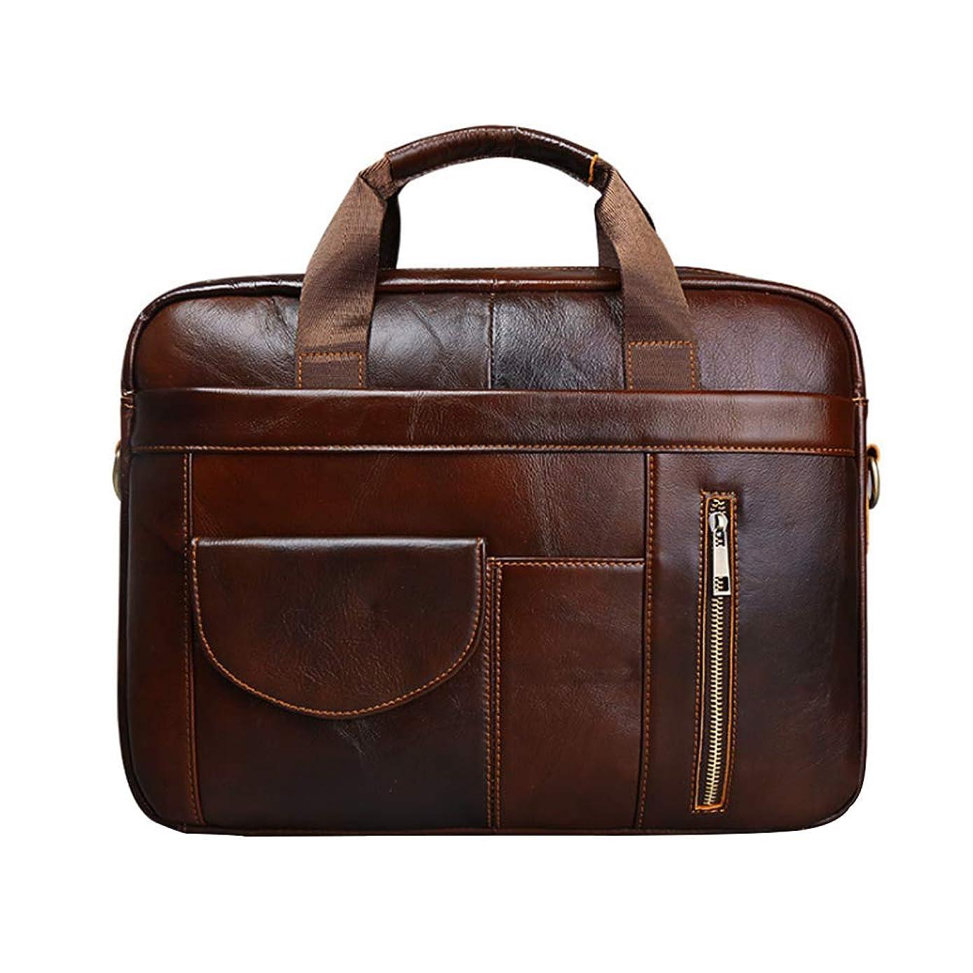 気配りのある鉄考古学的な大容量バッグメッセンジャーバッグビジネスバッグブリーフケースレザー斜め防水バッグ