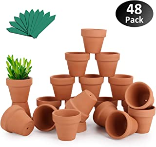 "GROWNEER 48-Pack 2"" Mini Clay Pots Terracotta Pot with 25 Pcs Plant Labels, Ceramic Pottery Planter Cactus Succulent Nursery Pots, for Indoor Outdoor Plants, Crafts, DIY, Wedding Favor"