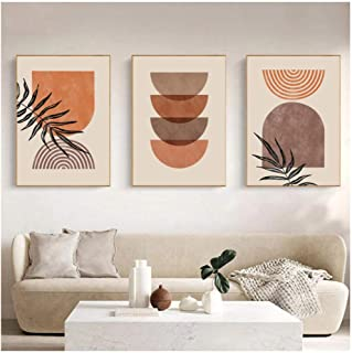Kkglo 3Pcs Modern Abstract Wall Art Home Decor Rainbow Art Print Canvas Painting Geometric Poster Neutral Boho Wall Pictur...