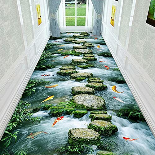 3D Small Stream Stone Series Printed Carpet Thick Waterproof Non-Slip Machine Washable Floor Mats Suitable For Corridors Entrances And Bay Windows