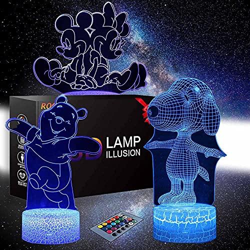 3D luz noche lámpara Pooh oso Mickey Mouse Snoopy 16 colores cambiar con remoto vacaciones y cumpleaños regalos ideas para niños 3 patrón