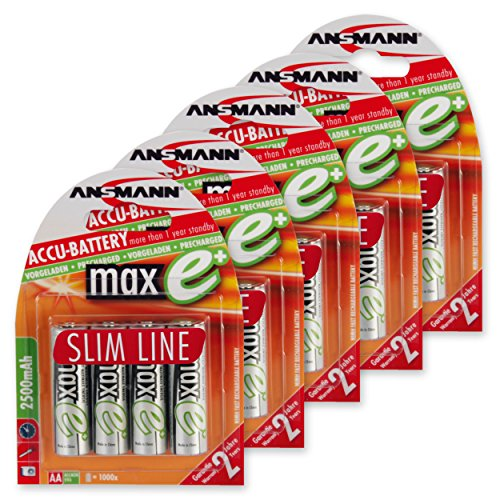ANSMANN maxE AA Rechargeable Batteries 2500mAh Slimline pre-Charged Low Self Discharge (LSD) for Remote, Flashlight etc. More Power High Capacity (20-Pack)