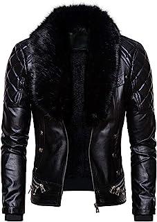 Men's Zipper Removable Faux Fur Collar Jacket,Leather Vintage Steam Pocket Punk Gothic Retro Coat