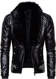 wuliLINL Men Vintage Faux Fur Collar Coat Men Casual Zipper Hooded Jackets Faux Leather Warm Coat Outwear Sweater