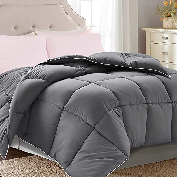 Brermer Soft Queen Goose Down Alternative Comforter All Seasons Puffy Warm Duvet Insert With 8 Corner Tabs Luxury Reversible Hotel Collection 88 X 88 Grey