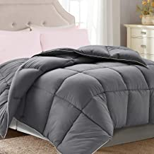 Brermer Soft Queen Goose Down Alternative Comforter, All Seasons Puffy Warm Duvet Insert with 8 Corner Tabs, Luxury Reversible Hotel Collection, 88