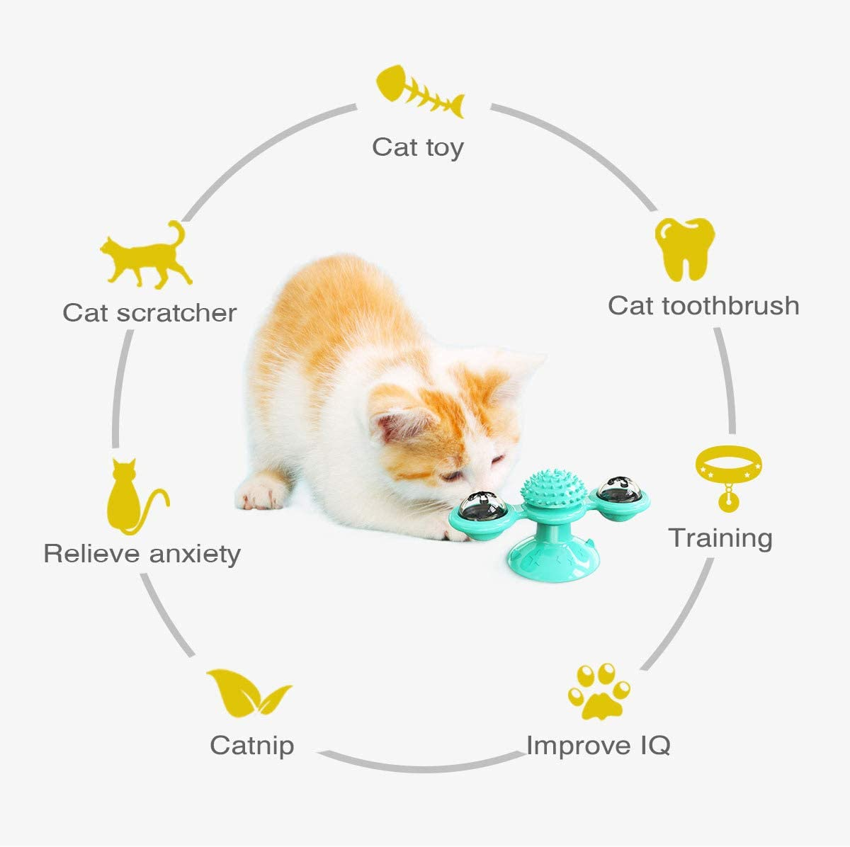 DTDR Windmill Cat Toy - Interactive Turntable Cat Toy with Suction Cup - Windmill Scratch Hair Brush Turntable Teasing Pet Toy Scratching Tickle Cats Hair Brush Funny Cat Toys Blue